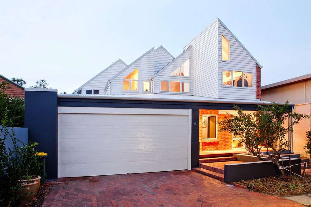 Angled windows add visual interest to this second storey renovation in Swanbourne
