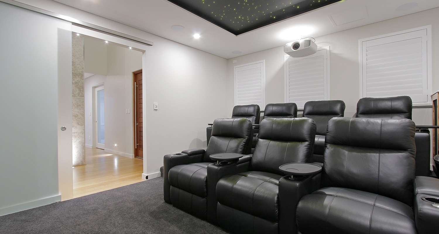 zazen building and design - audiovisual cinema room fibre optic ceiling