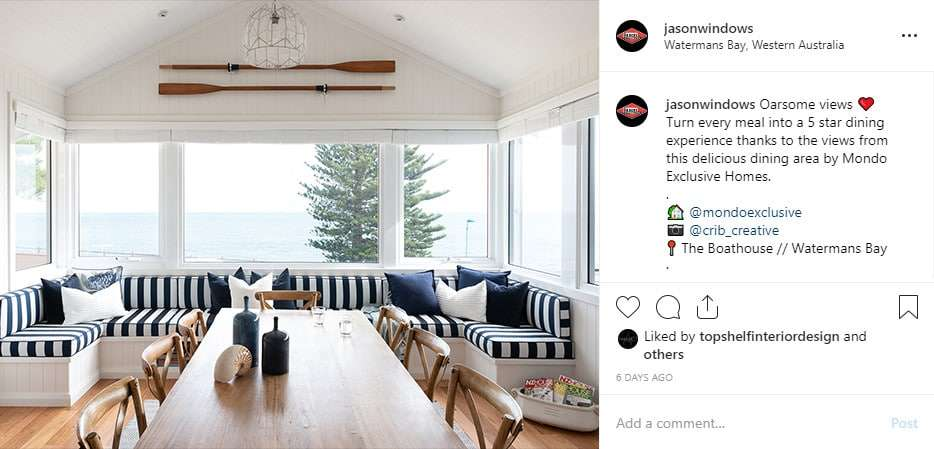 Feature your home on Jason Windows' social media accounts. Example shown is from Instagram.