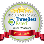 "Excellence badge presented to Jason Windows by Three Best Rated. It has 5 stars at the top and states ""Best Business of 2020 - Three Best Rated logo - Jason Windows""."