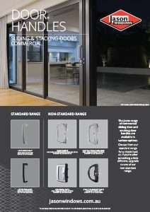Thumbnail view of the Door Handles brochure. It shows an image of a large sliding door with a silver Lockwood Aria handle