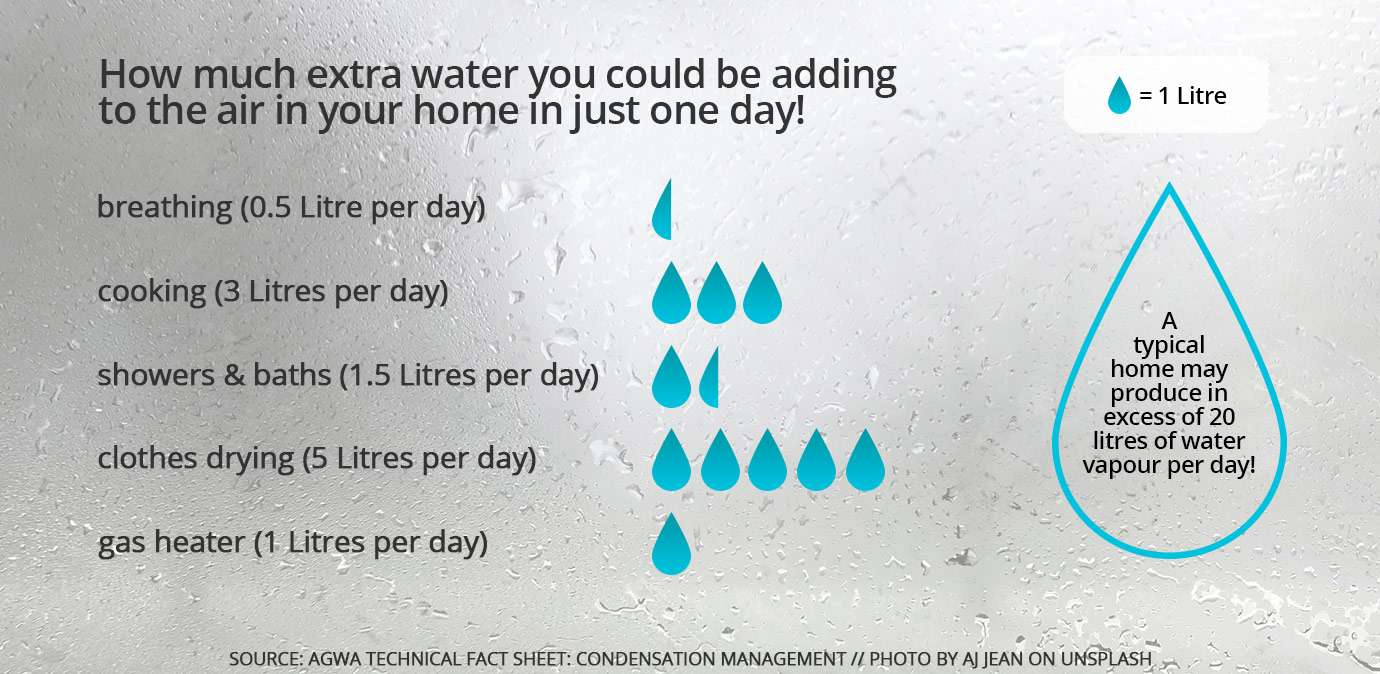 A typical house may produce in excess of 20L of water vapour per day!
