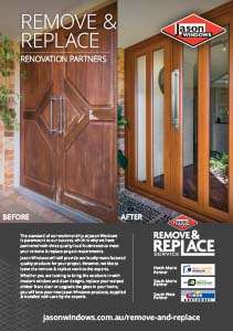 Remove & Replace brochure. It shows a before and after photo of a timber front door that has been badly weathered and replaced with a Jason Windows Timber Look door